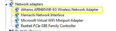 Device Manager - Wireless Network